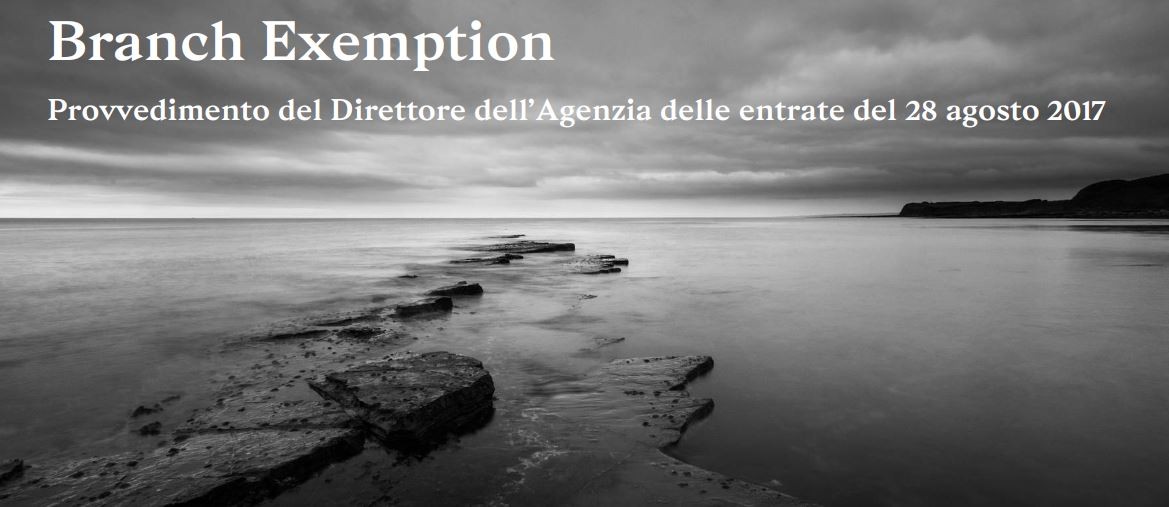 Branch Exemption – 26 settembre 2017, Milano