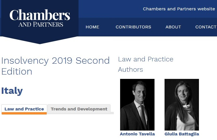 Chambers Insolvency Guide 2019 – Italy Chapter by Chiomenti