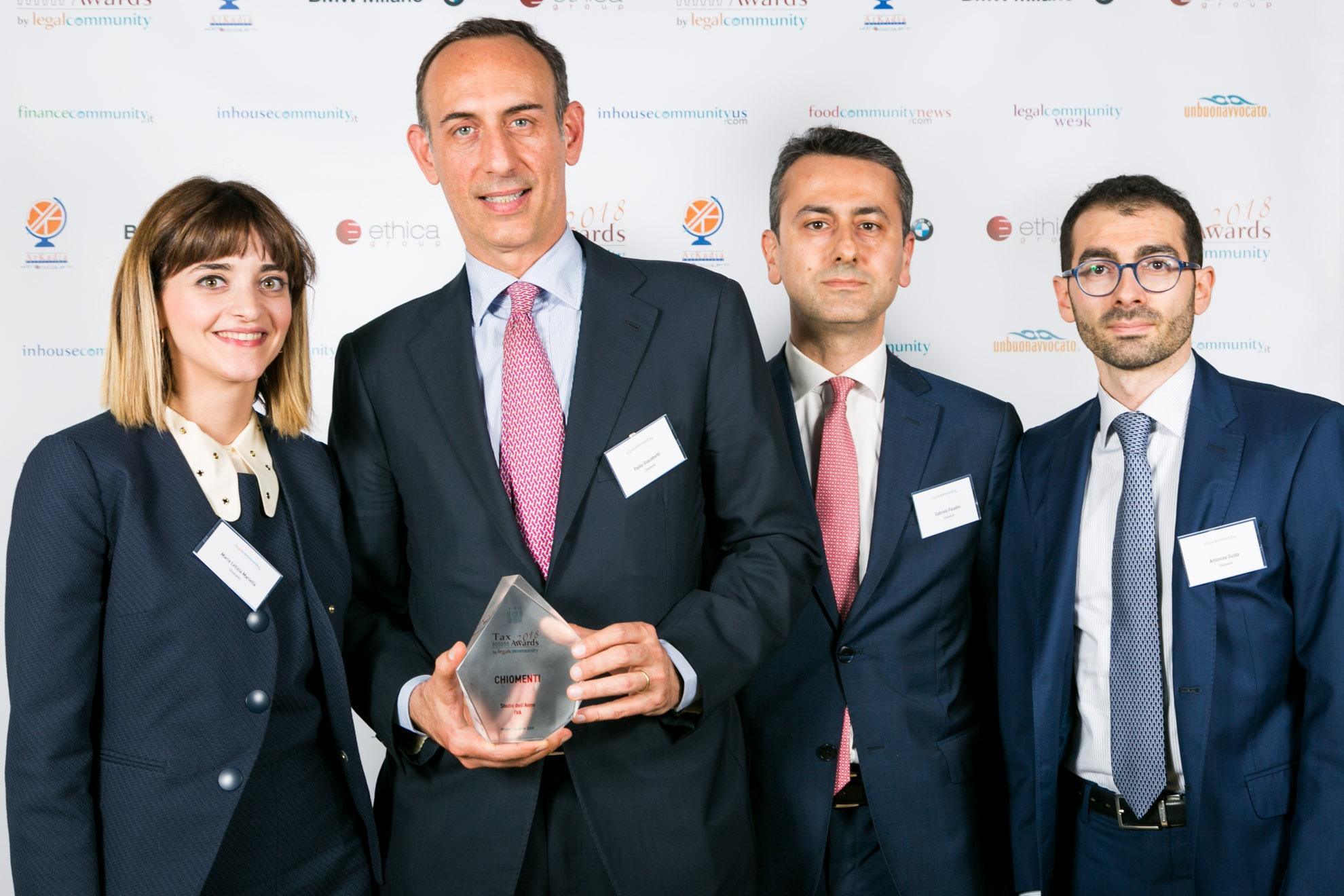 Chiomenti ai Legalcommunity Tax Awards 2018: premi per Studio dell'Anno IVA e Professionista dell'Anno Fiscalità Finanziaria