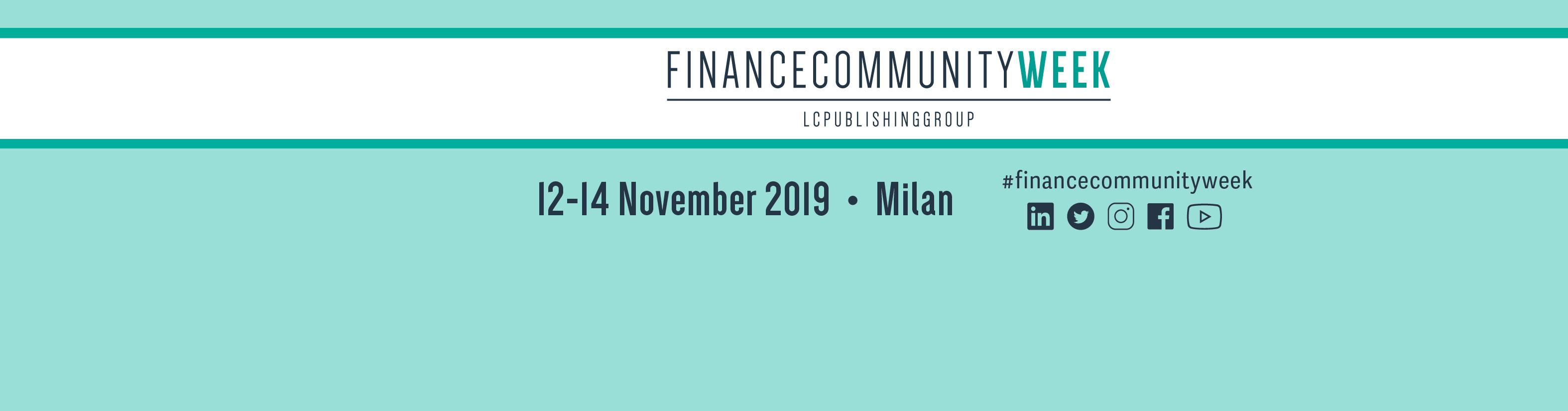 Financecommunity Week, 12-14 November 2019, Milan