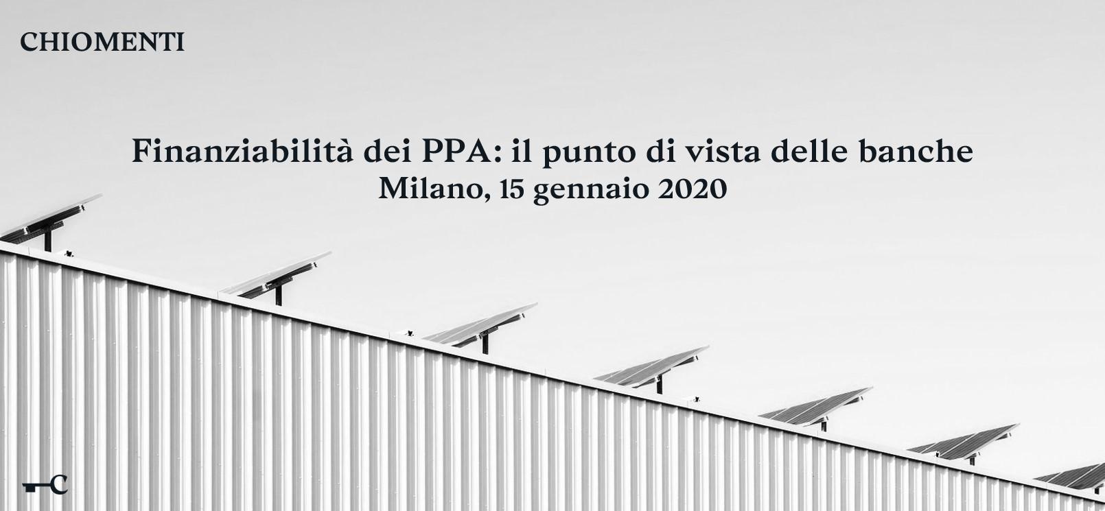 Finanziabilità dei PPA: il punto di vista delle banche - 15 gennaio 2020, Milano