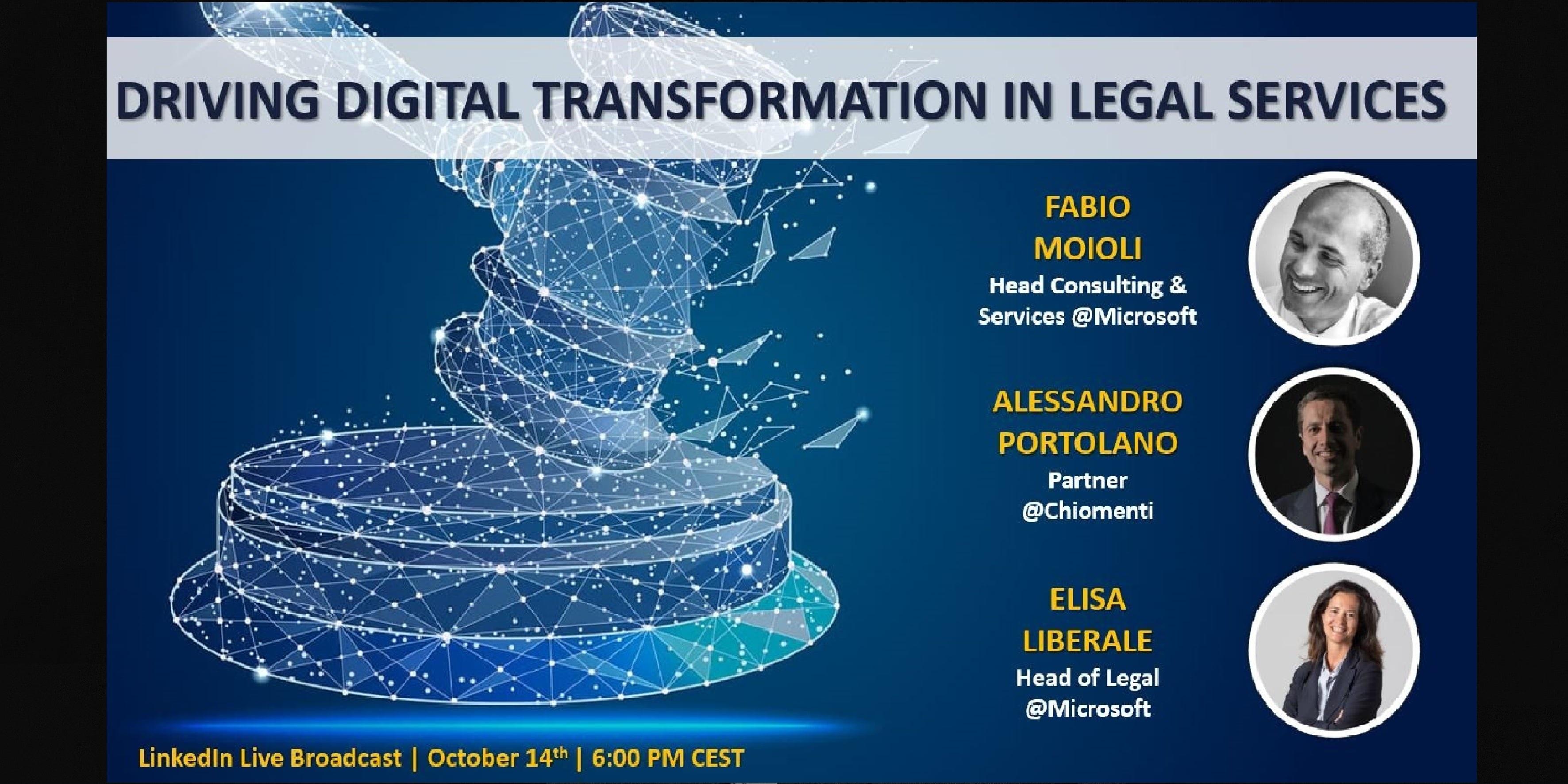 """Driving Digital Transformation in Legal Services"" LinkedIn Live Broadcast - October 14, 2020"